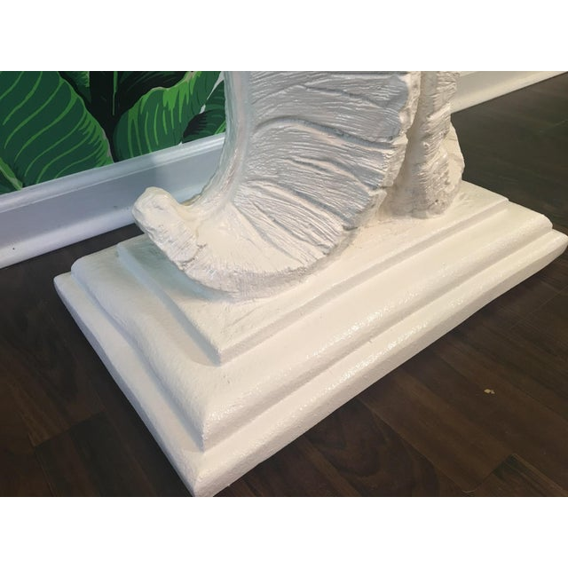 1970s Sculptural Palm Leaf Console Table and Mirror After Serge Roche & Dorothy Draper For Sale - Image 5 of 9