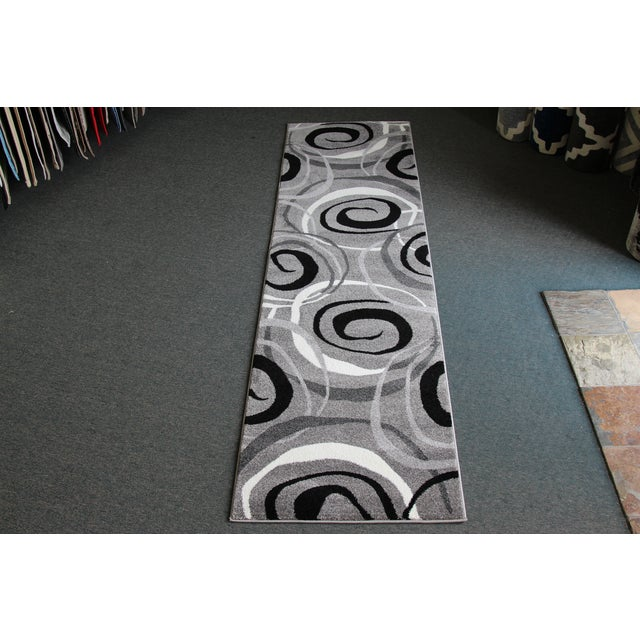 Gray Circles Rug Runner Rug -- 3' x 10' - Image 2 of 4