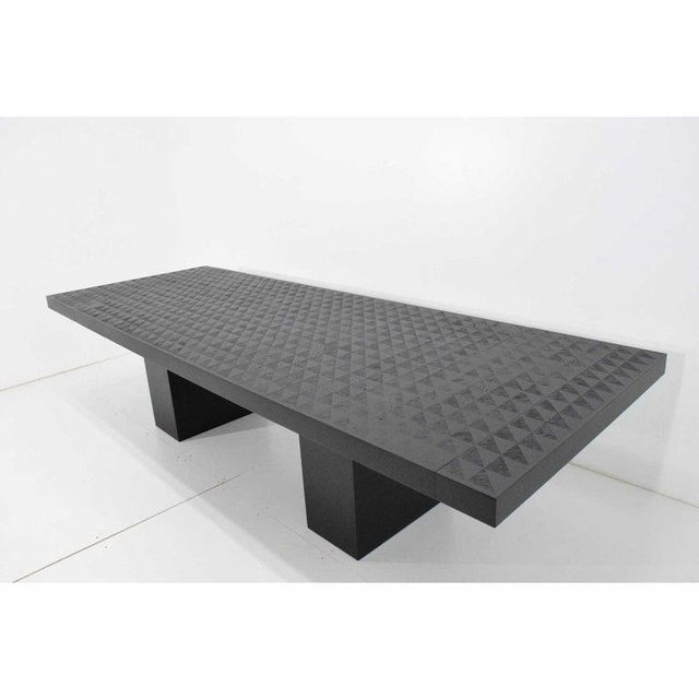 Hollywood Regency Style Ebonized Oak Dining Table and Two Leaves For Sale - Image 4 of 13