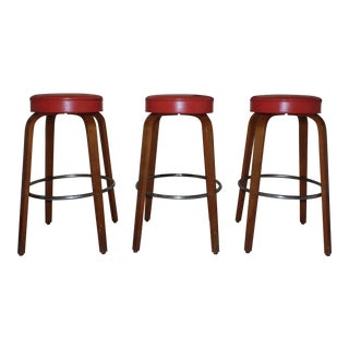 Vintage Mid Century Modern Thonet Bentwood Counter Bar Stools-Set of 3 For Sale