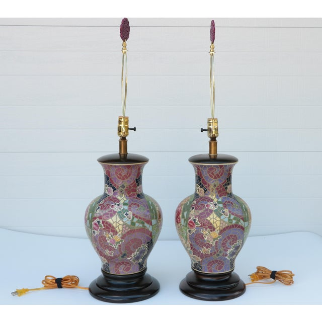 Late 20th Century Frederick Cooper Mosaic Chinoiserie Table Lamps - a Pair For Sale - Image 5 of 8