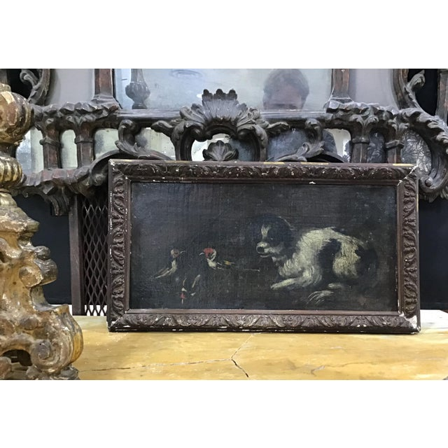 A charming 18th century Italian school painting of a dog playfully looking at three birds, framed oil on canvas. The...