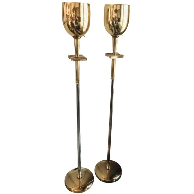 Tommy Parzinger Brass Torchieres - A Pair - Image 1 of 6