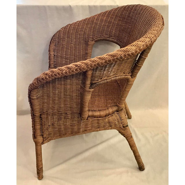 Brown Late 20th Century Vintage Barrel Back Natural Wicker Chair For Sale - Image 8 of 13