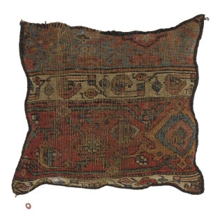 """Persian Antique Rug Fragment Pillow - 1'4"""" X 1'4"""" For Sale"""