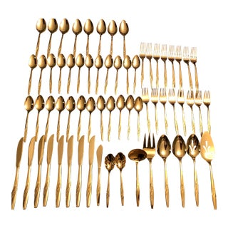 Mid-Century WM Rogers Gold Electroplated Flatware - Set of 65 For Sale