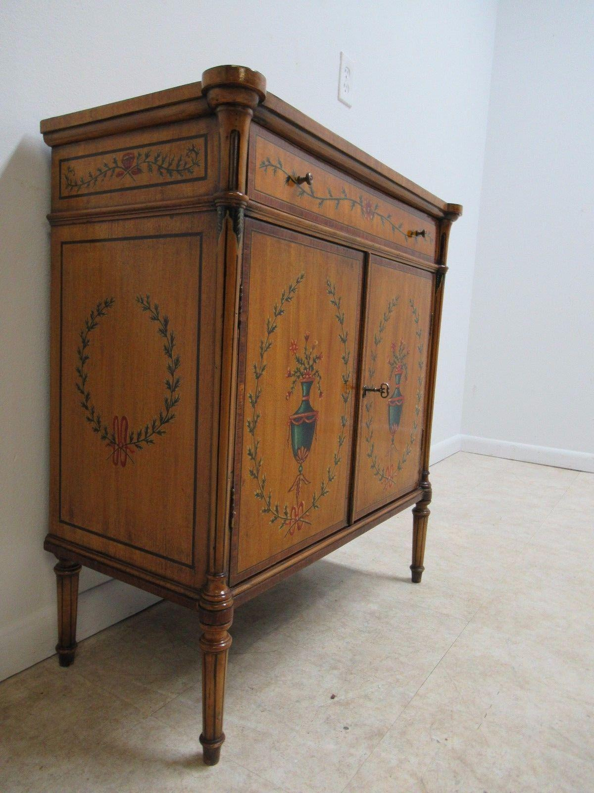 An Antique French Adams Point Decorated Liquor Cabinet. Nice Shape. Minor  Scratches And Finish