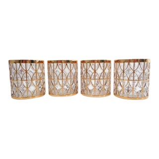 Mid Century El Tabique De Oro GoId Rock Vintage Imperial Lowball Old Fashioned Glasses New Old Stock