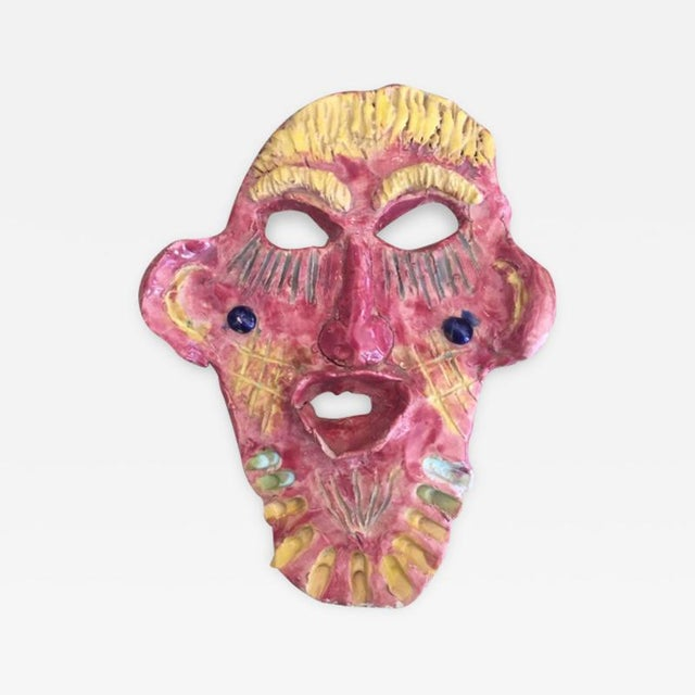 Mid 20th Century Pink & Yellow Glazed Face For Sale - Image 4 of 4