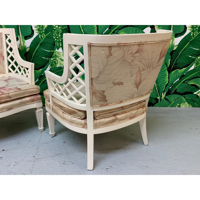Hollywood Regency Lattice Club Chairs - a Pair For Sale - Image 4 of 7