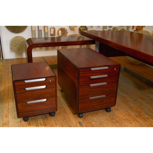 Danish Modern Modern Custom Rosewood Executive Desk Suite For Sale - Image 3 of 7