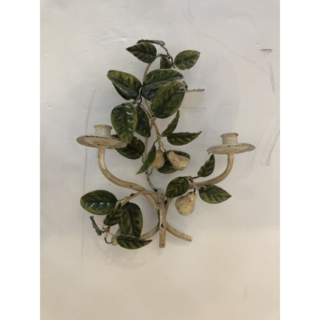 Italian Tole & Iron Painted Pear & Leafy Wall Sconces - a Pair For Sale - Image 3 of 13