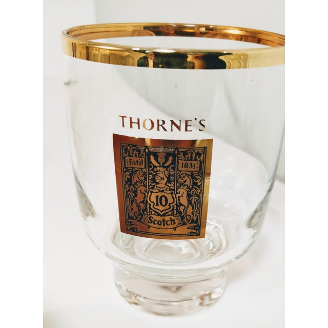 Metal 1960's Gold Rimmed Thorne Scotch Lowball Glass For Sale - Image 7 of 10