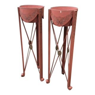 French Red Tole Painted Plant Stands - a Pair