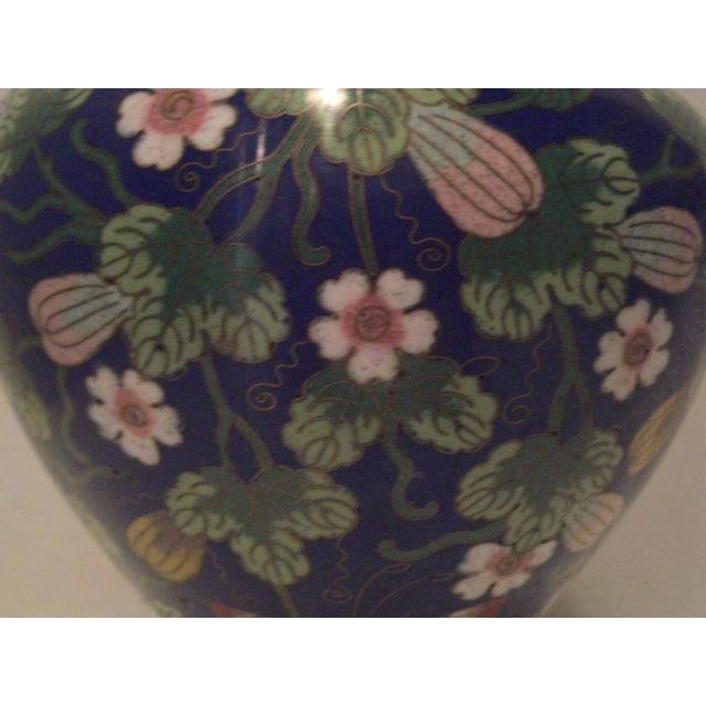 Cobalt Blue Cloisonne Covered Ginger Jar - Image 11 of 11