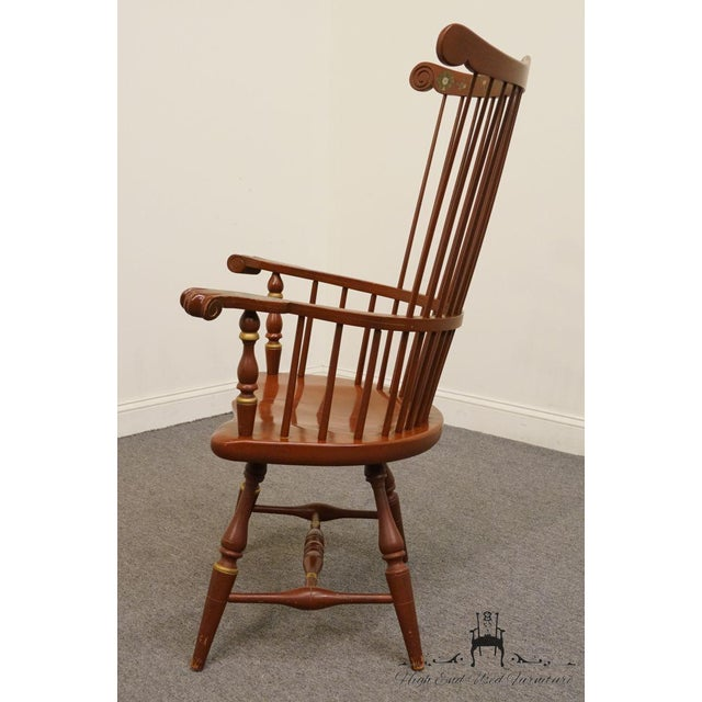 Wood 20th Century Traditional Ethan Allen Hitchcock Stenciled High Back Windsor Accent Chair For Sale - Image 7 of 13