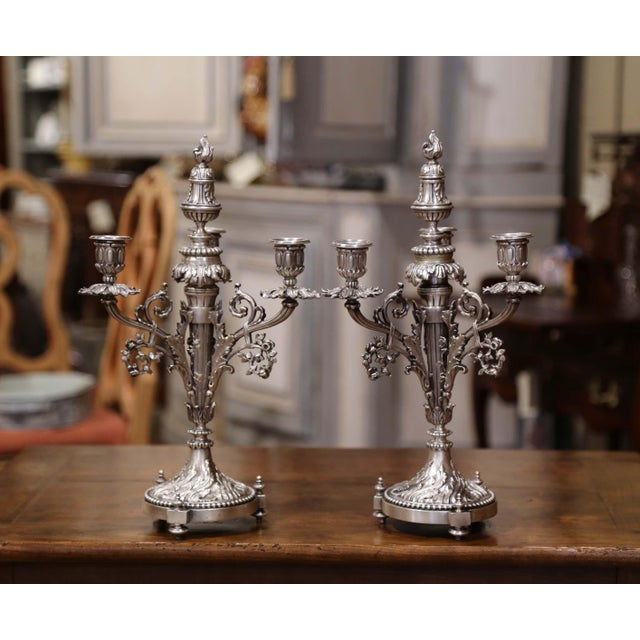 Pair of 19th Century French Silvered Bronze Candelabras and Crystal Bobeche For Sale - Image 11 of 13