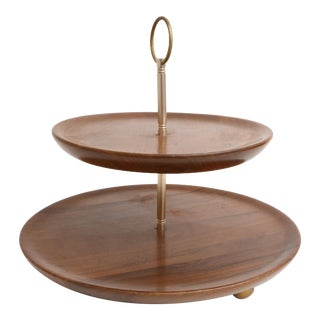 Mid Century Modern Vintage Brass Walnut Two Tier Cup Cake / Cheese Tray