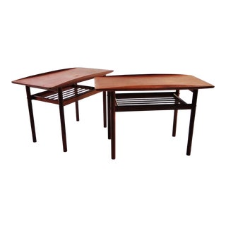 Pair of Grete Jalk for Poul Jeppsen Teak Side End Tables, Denmark, 1960s For Sale