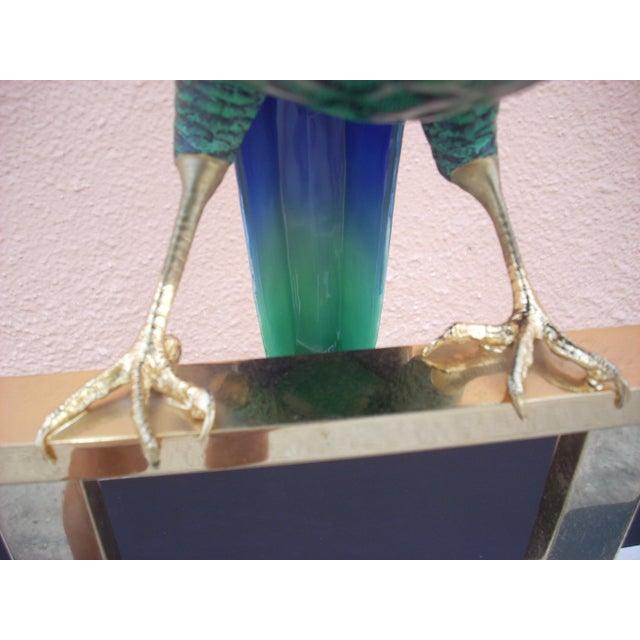 Green & Brass Parrot Sculpture - Image 3 of 7