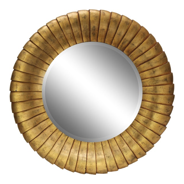 Mid-Century Style Large Contemporary Round Gold Mirror For Sale