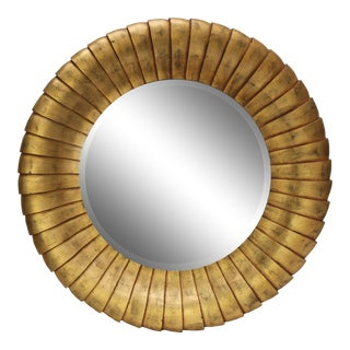 Very Large Contemporary Round Gold Mirror Mid-Century Style For Sale