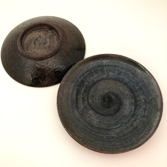 Handthrown Mid-Century Studio Pottery Plates - A Pair For Sale - Image 9 of 11
