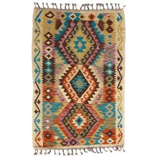 Afghan Kilim Handspun Wool Rug - 3′4″ × 4′11″ For Sale