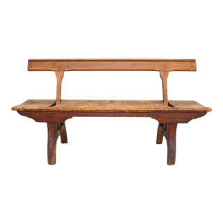 Primitive Turn of the Century Convertible Wood Bench For Sale