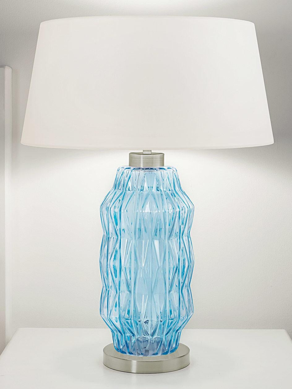 Laguna Hand Blown Glass Column Table Lamp In Aqua Chairish