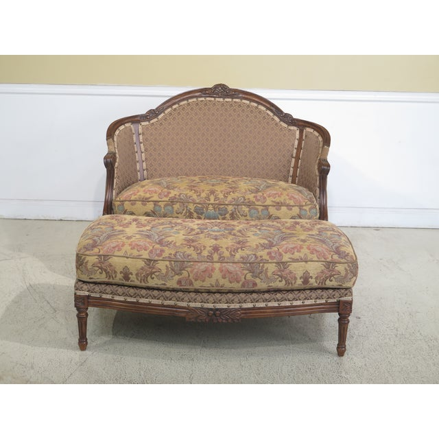 French Louis XV Style Loveseat with Ottoman - A Pair For Sale - Image 13 of 13