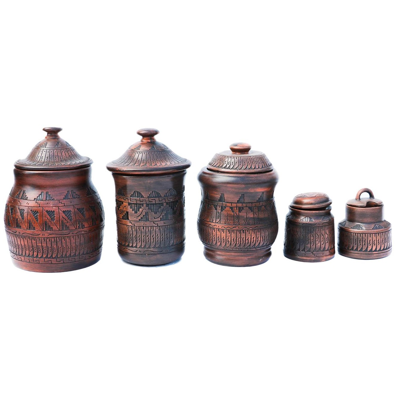 Navajo-Style Pottery Canisters - Set of 5 | Chairish