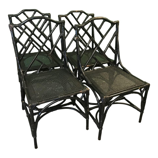 Vintage Italian Rattan Chippendale Chairs-Four For Sale