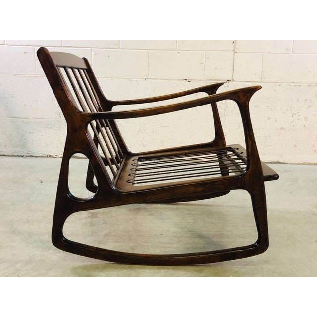 Vintage Italian Beech Wood Rocking Chair For Sale - Image 4 of 13