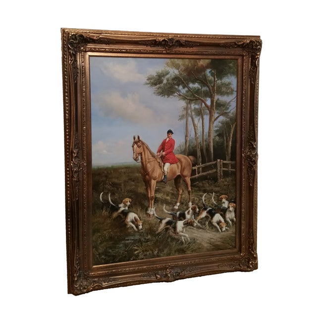 """""""Huntsman With Hounds"""", Framed Oil Painting - Image 1 of 4"""