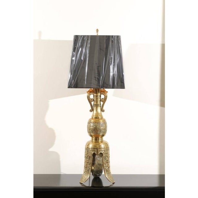 Majestic Pair of Mid-Century Brass Lamps with Spectacular Helmet Style Base For Sale - Image 10 of 11