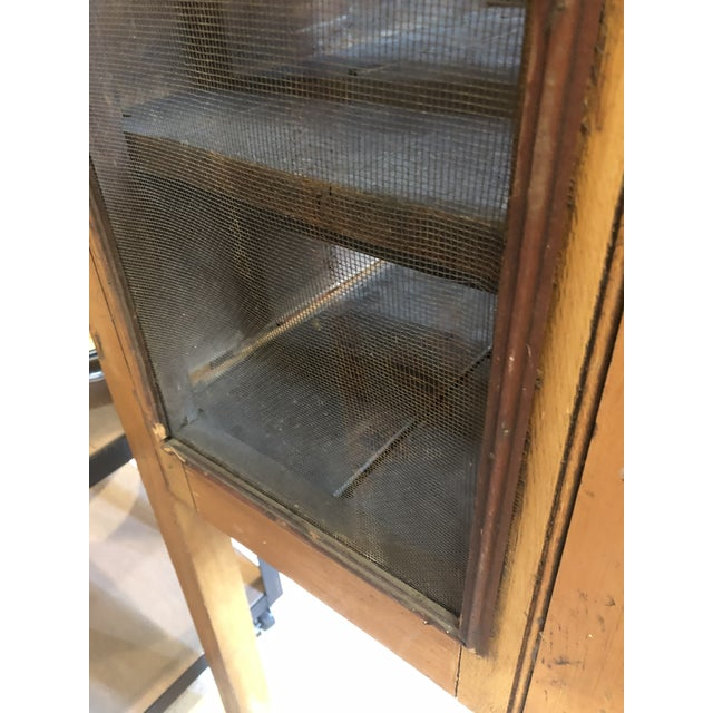 Rare Primitive Pie Safe With Original Paint and Hardware Circa 1900 For Sale - Image 9 of 13