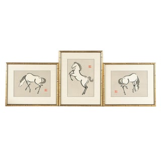 Early 20th Century Woodblock Prints of Horses by Yoshijirō (Mokuchu) Urushibara- Set of 3 For Sale