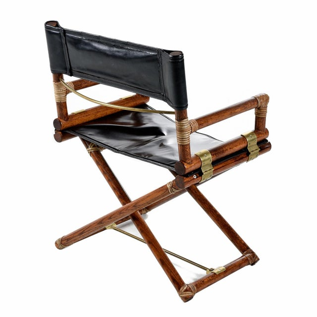 John McGuire McGuire Director Chair X-Chair, Vintage Black Leather, Oak and Brass For Sale - Image 4 of 9