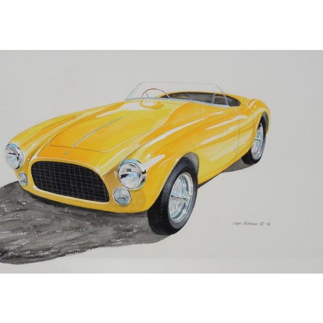 Classic Yellow Ferrari Original Watercolor by Stan Petersen c.1993 Fantastic original painting by Stan Peterson of a...