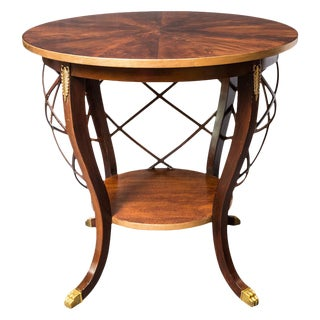 Hollywood Regency Walnut Round Side Table With Ormolu