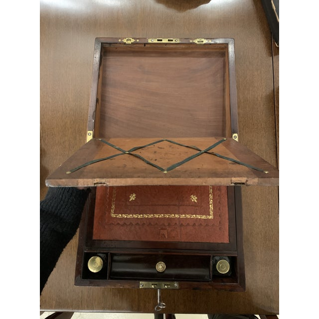 Late 19th Century Brass Inlaid Rosewood Lap Desk For Sale - Image 10 of 12