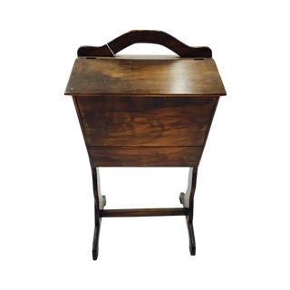 Wooden Sewing Box & Side Table For Sale