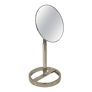 Midcentury Chrome Vanity Mirror in the Style of Milo Baughman For Sale