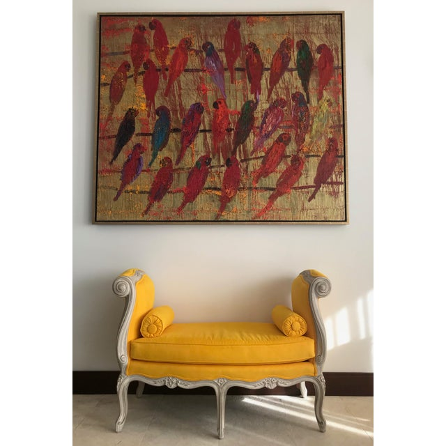 French 1900s Canary Yellow French Settee For Sale - Image 3 of 13