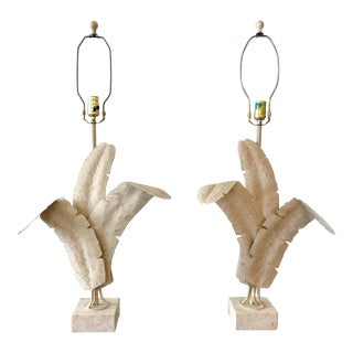 Vintage Michael Taylor Style Painted Metal Palm Frond Lamps on Travertine Bases For Sale