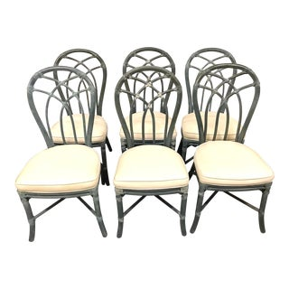 Vintage Signed McGuire Furniture Bamboo Dining Chairs - Set of 6 For Sale