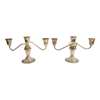 1960s Duchin Sterling Silver 3 Candle Candelabras - a Pair For Sale