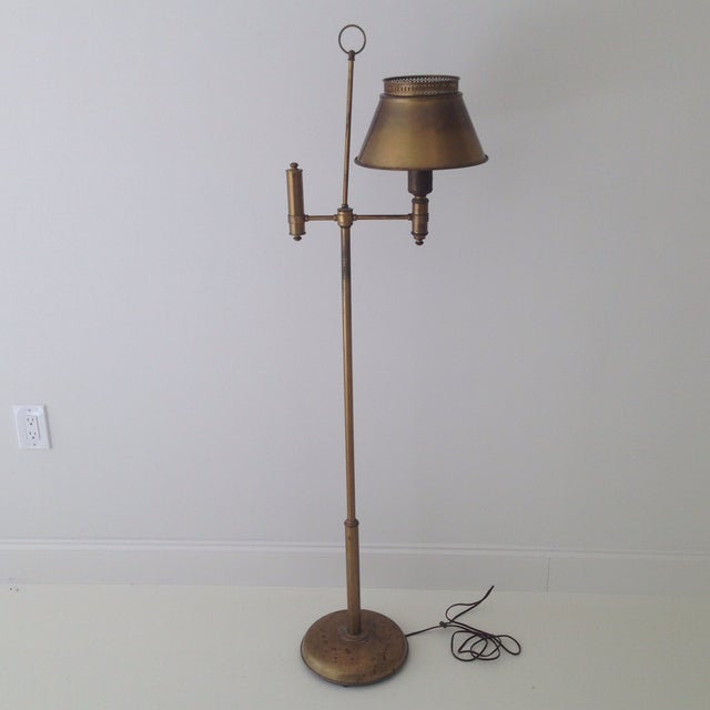 Aged Brass Tole Floor Lamp - Image 2 of 11