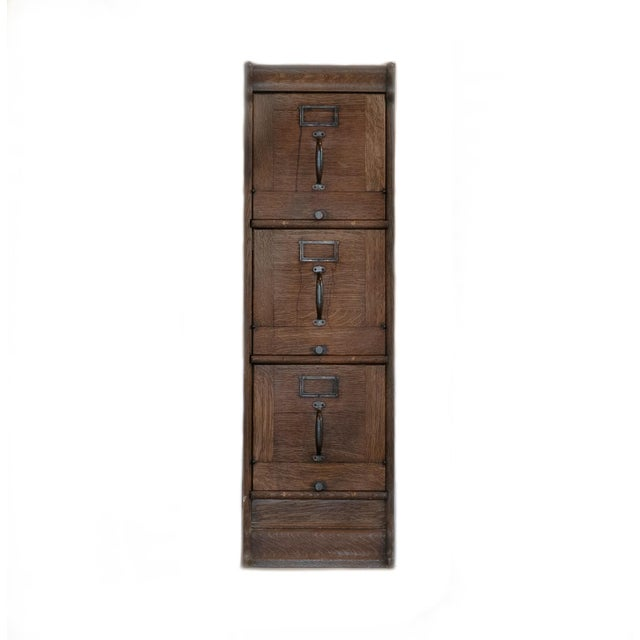 Industrial Antique Quartersawn Executive Wooden Filing Cabinet For Sale - Image 3 of 7